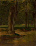 Fine Art - Painting, American:Other , GEORGE INNESS (American, 1825-1894). Trout Stream, NorthConway, circa 1875-76. Oil on canvas laid on cardboard. 17 x13... (Total: 2 Items)