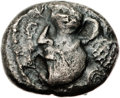 Ancients:Judaea, Ancients: Philistia (5-4 centuries BC). AR quarter-shekel (15mm,3.41 gm, 12h)....