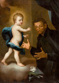 Fine Art - Painting, European:Antique  (Pre 1900), ITALIAN SCHOOL (18th Century). The Vision of St. Anthony ofPadua. Oil on canvas. 36 x 26 inches (91.4 x 66.0 cm). ...
