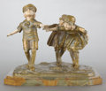 Decorative Arts, French:Other , A FRENCH PATINATED GILT BRONZE AND IVORY FIGURAL GROUPING BYDEMETRE CHIPARUS (ROMANIAN, 1886-1947) . Circa 1920. Marks:C...