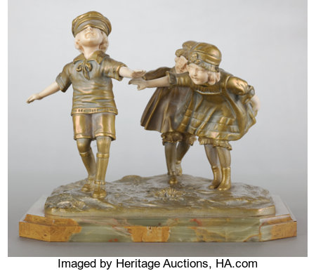 A FRENCH PATINATED GILT BRONZE AND IVORY FIGURAL GROUPING BY DEMETRE CHIPARUS (ROMANIAN, 1886-1947) Circa 1920Marks: C...