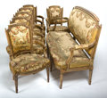 Furniture : French, A FRENCH LOUIS XVI STYLE GILT WOOD SEVEN PIECE SALON SUITE WITHTAPESTRY UPHOLSTERY. Circa 1900. 42 x 73 x 24 inches (106.7 ...(Total: 7 Items)
