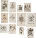 Books:Books about Books, Large Photo Album Containing 350 Bookplates. Mostly personal,engraved armorial bookplates, but with a smattering of institu...