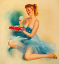 """Pin-up and Glamour Art, EDWARD RUNCI (American, 1921-1986). """"Top Choice"""", Mac's ResinCoat advertisement, 1955. Oil on canvas. 24 x 22 in.. Sign..."""