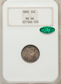Barber Dimes, 1892 10C MS66 NGC. CAC....