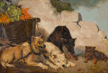 Fine Art - Painting, American:Other , VINCENT DE VOS (Belgian, 1829-1875). Dogs with VegetableCart, 1865. Oil on canvas . 26 x 38 inches (66.0 x 96.5 cm).Si...