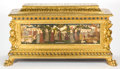 Furniture , AN ITALIAN RENAISSANCE STYLE GILT AND CARVED WOOD CASSONE WITH PAINTED PANELS . 19th century . 36 x 65-1/2 x 24 inches (91.4...