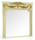 Furniture , A FRENCH PAINTED AND GILT WOOD TRUMEAU MIRROR . Circa 1900. 57 x 51-1/2 inches (144.8 x 130.8 cm). ...