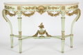 Furniture , A FRENCH PAINTED AND GILT WOOD CONSOLE TABLE . Circa 1900 . 35-3/4 x 57 x 19-7/8 inches (90.8 x 144.8 x 50.6 cm). ...