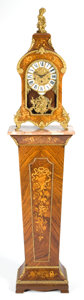 Clocks & Mechanical:Clocks, A LOUIS XV STYLE MARQUETRY AND GILT BRONZE BRACKET CLOCK AND PEDESTAL RETAILED BY TIFFANY . Circa 1970 . Marks to face: TI... (Total: 4 Items)