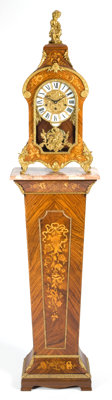 A LOUIS XV STYLE MARQUETRY AND GILT BRONZE BRACKET CLOCK AND PEDESTAL RETAILED BY TIFFANY Circa 1970 Marks to