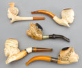 Other:European, FIVE AUSTRIAN MEERSCHAUM PIPES: MOORS . 19th century .Marks: Silver. 6 inches long (15.2 cm) (largest). ...(Total: 5 Items)