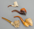 Other:European, FOUR AUSTRIAN MEERSCHAUM PIPES: KINGS . 19th century . 6inches long (15.2 cm) (largest). ... (Total: 4 Items)