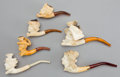Other:European, SIX AUSTRIAN MEERSCHAUM PIPES: LADIES . 19th century . 6-1/8inches long (15.6 cm) (largest). ... (Total: 6 Items)