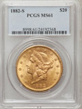 Liberty Double Eagles: , 1882-S $20 MS61 PCGS. PCGS Population (306/341). NGC Census:(391/170). Mintage: 1,125,000. Numismedia Wsl. Price for probl...
