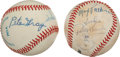 Baseball Collectibles:Hats, Mascots and One Armed Players Multi Signed Theme Baseballs Lot of2....