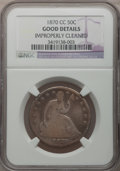 Seated Half Dollars: , 1870-CC 50C -- Improperly Cleaned -- NGC Details. Good. NGC Census:(3/37). PCGS Population (12/103). Mintage: 54,617. Numi...