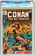 Bronze Age (1970-1979):Superhero, Conan the Barbarian #1 (Marvel, 1970) CGC NM- 9.2 White pages....