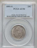 Seated Quarters: , 1891-S 25C AU50 PCGS. PCGS Population (7/160). NGC Census: (3/150).Mintage: 2,216,000. Numismedia Wsl. Price for problem f...