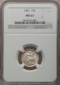 Seated Dimes: , 1857 10C MS63 NGC. NGC Census: (48/137). PCGS Population (56/68).Mintage: 5,580,000. Numismedia Wsl. Price for problem fre...