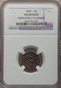Seated Dimes: , 1847 10C -- Improperly Cleaned -- NGC Details. AU. NGC Census: (1/28). PCGS Population (2/33). Mintage: 245,000. Numismedia...
