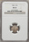 Three Cent Silver: , 1862 3CS MS65 NGC. NGC Census: (223/147). PCGS Population(198/118). Mintage: 343,000. Numismedia Wsl. Price for problemfr...