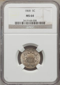 Shield Nickels: , 1868 5C MS64 NGC. NGC Census: (247/157). PCGS Population (242/105).Mintage: 28,800,000. Numismedia Wsl. Price for problem ...