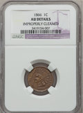 Indian Cents: , 1866 1C -- Improperly Cleaned -- NGC Details. AU. NGC Census:(22/601). PCGS Population (44/277). Mintage: 9,826,500. Numis...