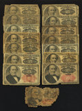 Fractional Currency:Fifth Issue, A Large Lot of Fifteen 25¢ Fifth Issue Notes Poor-Very Good.. ... (Total: 15 notes)