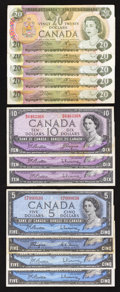 Canadian Currency: , An Assortment of Canadian $5s, $10s, and $20s. ... (Total: 12notes)