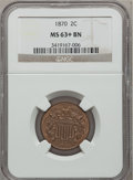 Two Cent Pieces: , 1870 2C MS63+ Brown NGC. NGC Census: (56/96). PCGS Population(25/23). Mintage: 860,250. Numismedia Wsl. Price for problem ...