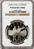 Modern Issues, 2004-P $1 Lewis and Clark Silver Dollar PR69 Ultra Cameo NGC. NGCCensus: (4636/704). PCGS Population (4478/781). Numismed...