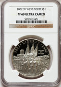 Modern Issues: , 2002-W $1 West Point Silver Dollar PR69 Ultra Cameo NGC. NGCCensus: (3649/1661). PCGS Population (3048/208). Numismedia W...