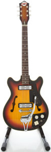 Musical Instruments:Electric Guitars, 1960's Teisco Del Rey EP-9T Sunburst Semi-Hollow Body ElectricGuitar, Serial #332706....