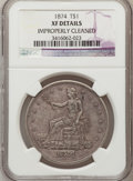 Trade Dollars: , 1874 T$1 -- Improperly Cleaned -- NGC Details. XF. NGC Census: (0/111). PCGS Population (5/122). Mintage: 987,100. Numismed...