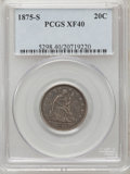 Twenty Cent Pieces: , 1875-S 20C XF40 PCGS. PCGS Population (146/2324). NGC Census:(50/1990). Mintage: 1,155,000. Numismedia Wsl. Price for prob...