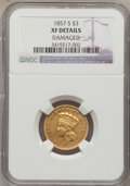 Three Dollar Gold Pieces, 1857-S $3 -- Damaged -- NGC Details. XF....