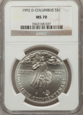 Modern Issues: , 1992-D $1 Columbus Silver Dollar MS70 NGC. NGC Census: (305). PCGSPopulation (146). Mintage: 106,949. Numismedia Wsl. Pric...