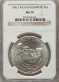 Modern Issues: , 1991-P $1 Mount Rushmore Silver Dollar MS70 NGC. NGC Census: (499).PCGS Population (306). Mintage: 133,139. Numismedia Wsl...