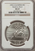 Modern Issues: , 1995-D $1 Olympic/Track & Field Silver Dollar MS69 NGC. NGCCensus: (516/227). PCGS Population (957/154). Numismedia Wsl. ...
