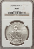 Modern Issues, 2004-P $1 Edison Silver Dollar MS69 NGC. NGC Census: (1779/855).PCGS Population (2241/671). Numismedia Wsl. Price for pro...