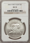 Modern Issues: , 2003-P $1 First Flight Silver Dollar MS70 NGC. NGC Census: (1087).PCGS Population (257). The image displayed is a stock ...