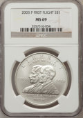 Modern Issues: , 2003-P $1 First Flight Silver Dollar MS69 NGC. NGC Census:(1948/1093). PCGS Population (1717/257). The image displayed i...