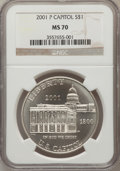 Modern Issues: , 2001-P $1 Capitol Visitor's Center Silver Dollar MS70 NGC. NGCCensus: (492). PCGS Population (105). Numismedia Wsl. Price...
