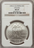 Modern Issues: , 1995-D $1 Olympic/Cycling Silver Dollar MS69 NGC. NGC Census:(584/229). PCGS Population (1104/156). Numismedia Wsl. Price...