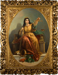 Fine Art - Painting, European:Antique  (Pre 1900), ITALIAN SCHOOL (19th Century). Personification of Justice in aperiod ornate gilt and gesso frame, circa 1870. Oil on ca...