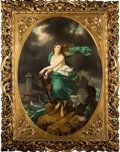 Fine Art - Painting, European:Antique  (Pre 1900), ITALIAN SCHOOL (19th Century). Sea Nymph with Anchor (NereidGalatea?) in a period ornate gilt and gesso Florentine'Medic...