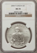 Modern Issues, 2004-P $1 Edison Silver Dollar MS70 NGC. NGC Census: (855). PCGSPopulation (671). Numismedia Wsl. Price for problem free ...