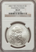 Modern Issues, 2006-P $1 Founding Father MS69 NGC. NGC Census: (1429/6585). PCGSPopulation (2306/671). Numismedia Wsl. Price for problem...