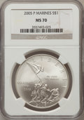 Modern Issues, 2005-P $1 Marine Corps MS70 NGC. NGC Census: (6409). PCGSPopulation (738). Numismedia Wsl. Price for problem free NGC/PCG...